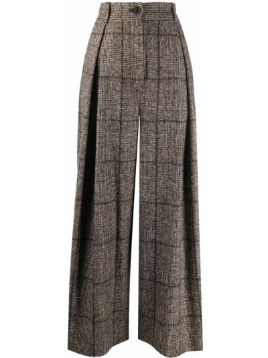 Коричневые свободные брюки из альпаки на пуговицах свободного кроя Dolce & Gabbana