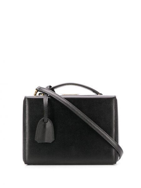 Кожаная золотистая черная сумка-тоут Mark Cross