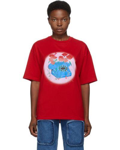 Ватная хлопковая рубашка с коротким рукавом с воротником с короткими рукавами Opening Ceremony