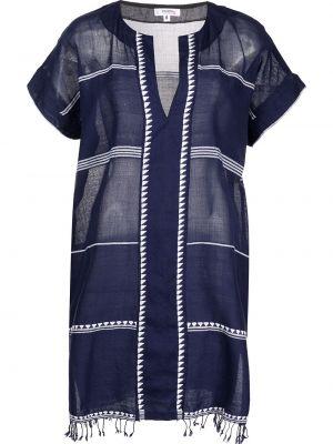 Синее платье мини с короткими рукавами с вырезом Lemlem