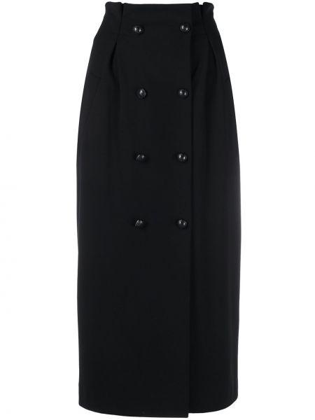 Черная юбка карандаш с карманами двубортная из вискозы Fay