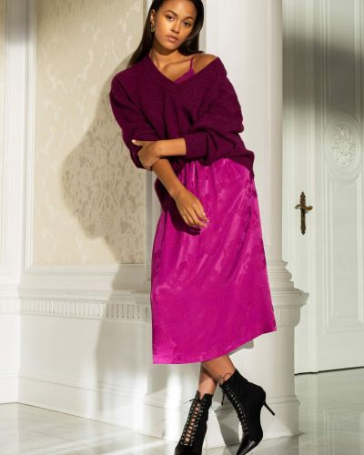 Fioletowy spódnica midi z wiskozy Orsay