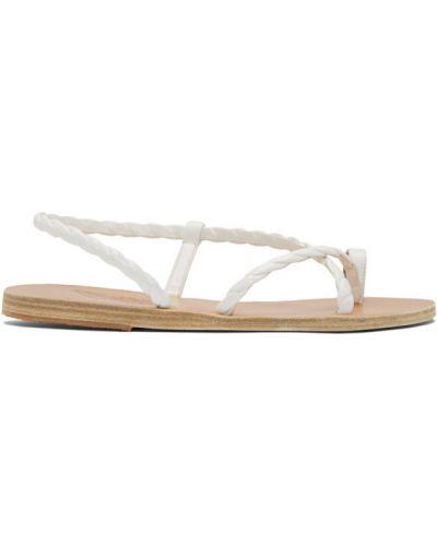 Otwarty skórzany biały sandały grecki na pięcie Ancient Greek Sandals