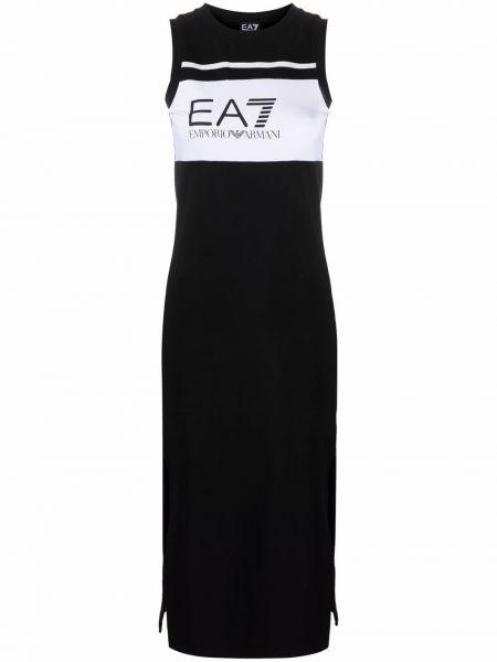Хлопковое платье миди - черное Ea7 Emporio Armani