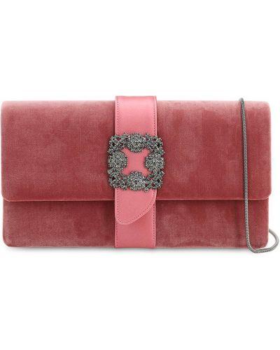 Różowa torebka na łańcuszku skórzana klamry Manolo Blahnik