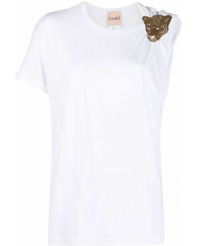 Прямая белая футболка с вырезом Nude