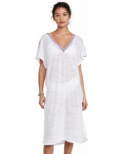 Трикотажное белое платье с короткими рукавами Pitusa