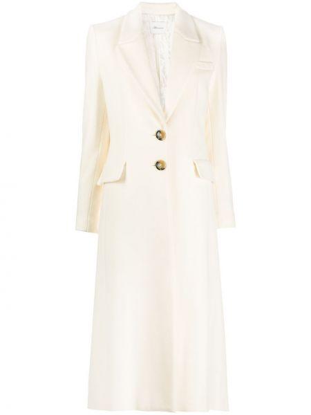Белое однобортное шерстяное длинное пальто на пуговицах Blumarine