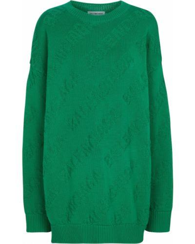 Sweter bawełniany - zielony Balenciaga