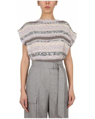 Sweter w paski bez rękawów z cekinami Brunello Cucinelli