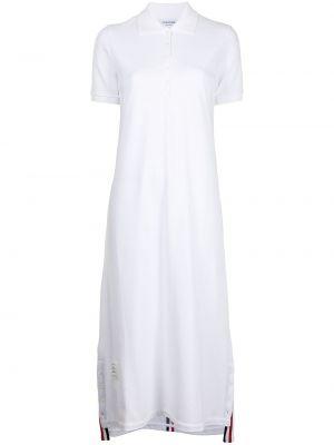 Biała sukienka mini bawełniana krótki rękaw Thom Browne