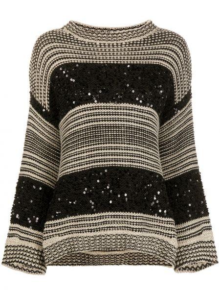 Черный вязаный длинный свитер оверсайз Brunello Cucinelli