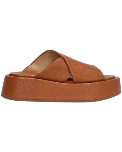 Brązowe sandały peep toe Marsell