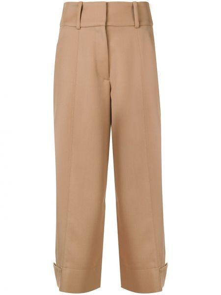 Коричневые укороченные брюки с поясом на кнопках свободного кроя See By Chloé
