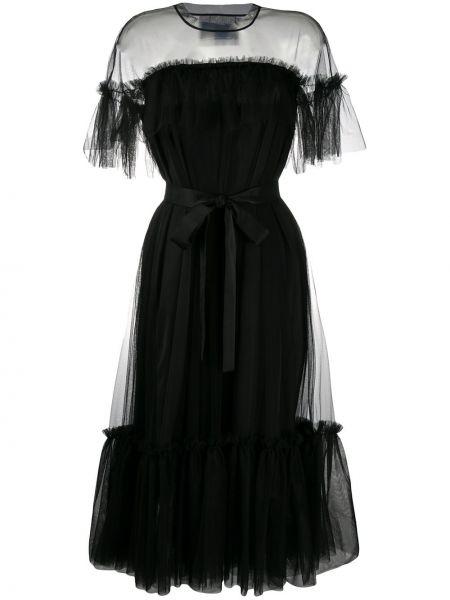 Черное платье миди из фатина с оборками с вырезом Viktor & Rolf