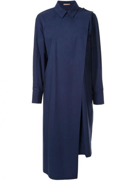 Свободное платье миди с запахом на пуговицах с воротником Nehera