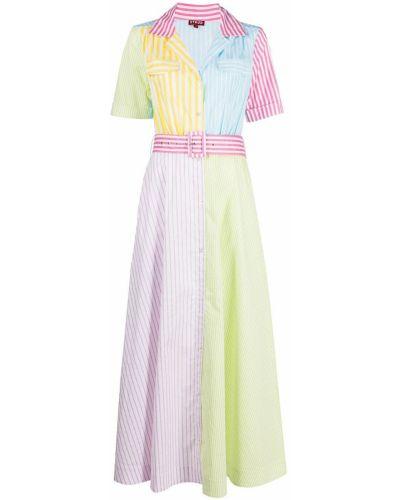 Платье мини на пуговицах с короткими рукавами в полоску Staud