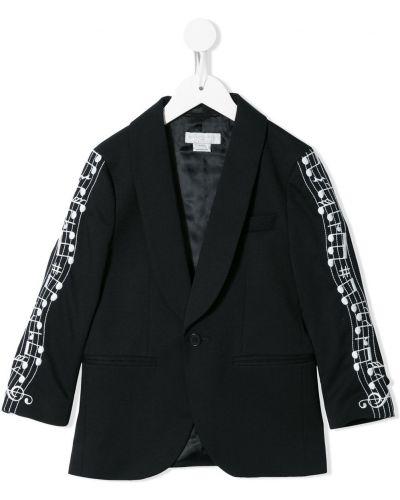 Czarny garnitur skórzany z długimi rękawami Stella Mccartney Kids
