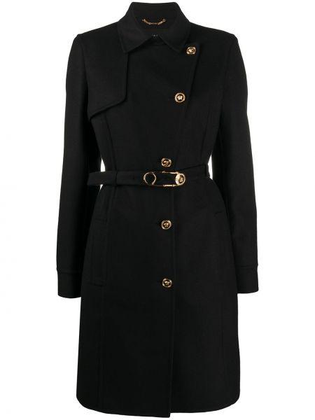 Klasyczny czarny płaszcz wełniany Versace