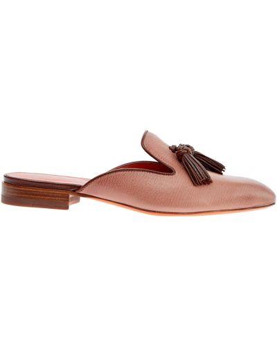 Мюли кожаные на каблуке Santoni