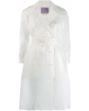Белый длинное пальто с поясом Alexa Chung