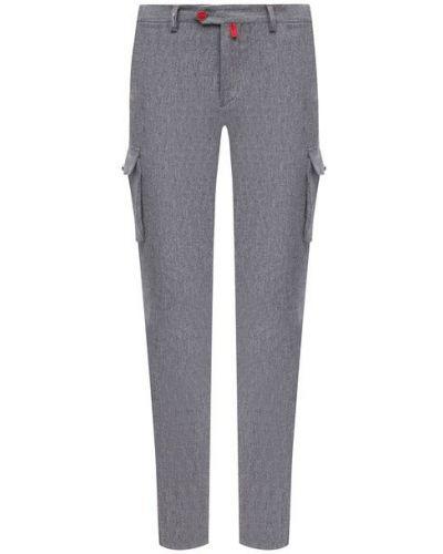 Шерстяные серые брюки карго с подкладкой Kiton