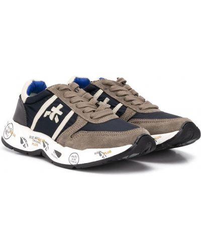 Кожаные серые кроссовки на шнуровке Premiata Kids