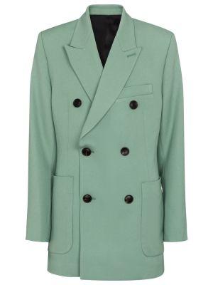 Шерстяной синий пиджак двубортный Ami Paris