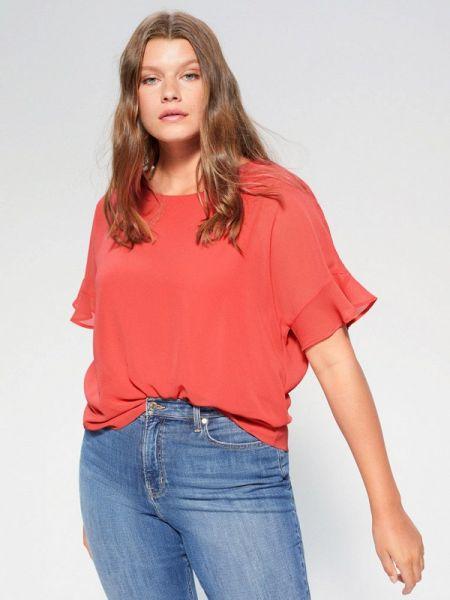 Блузка с коротким рукавом коралловый весенний Violeta By Mango