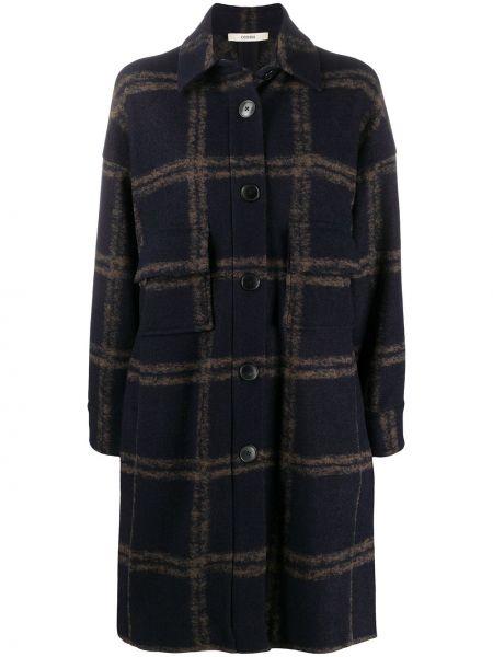Синее шерстяное длинное пальто на пуговицах с карманами Odeeh