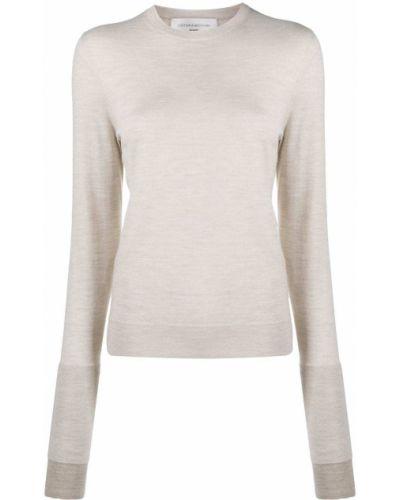 Шерстяной свитер в рубчик с вышивкой с круглым вырезом Victoria Beckham