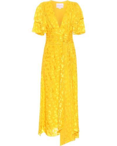 Платье миди с американской проймой из вискозы Carolina Herrera