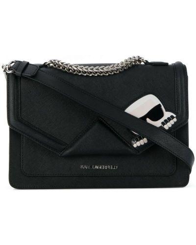 Кожаная сумка на плечо черная Karl Lagerfeld
