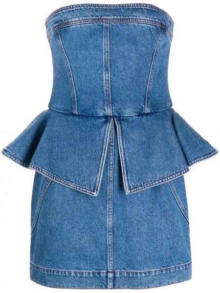 Синее джинсовое платье с баской без бретелек Philosophy Di Lorenzo Serafini
