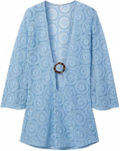 Хлопковое синее платье мини с вырезом Dodo Bar Or
