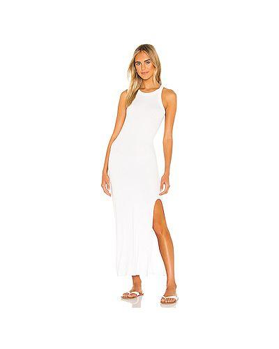 Облегающее белое шелковое платье с разрезом Lna