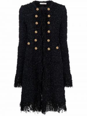 Черное длинное пальто с карманами на пуговицах Charlott