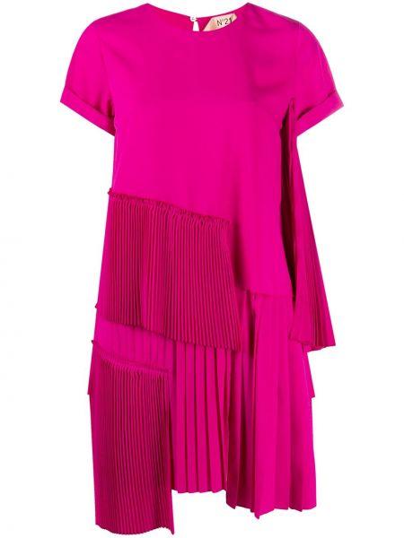 Плиссированное розовое платье мини с вырезом N°21