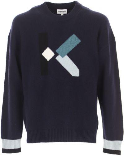 Niebieski długi sweter bawełniany z długimi rękawami Kenzo