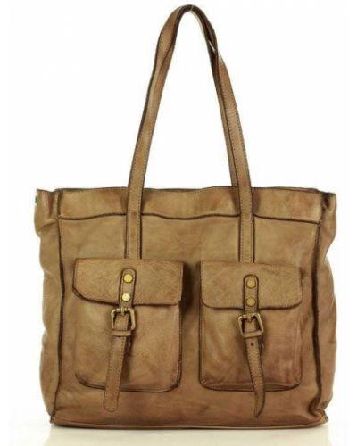 Skórzany zielony torba na zakupy z kieszeniami safari Mazzini