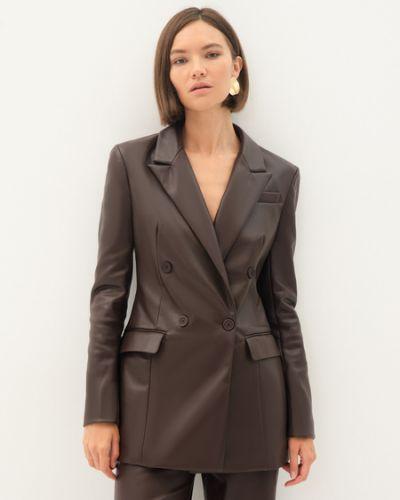 Коричневый пиджак из полиэстера Zarina