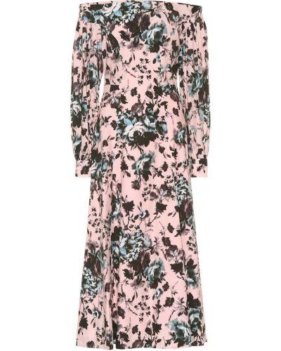 Платье миди розовое с цветочным принтом Erdem