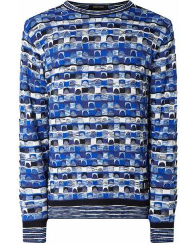 Niebieski sweter prążkowany Carlo Colucci