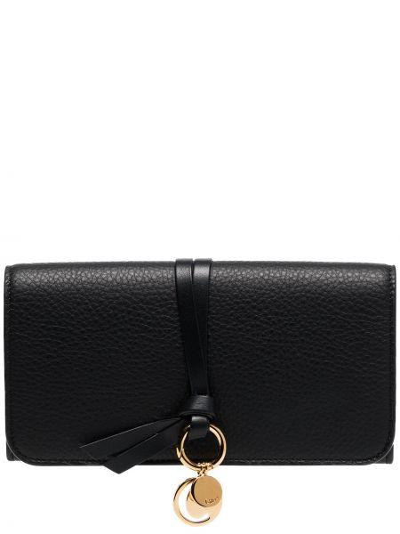 Skórzany czarny portfel skórzany z gniazdem Chloe