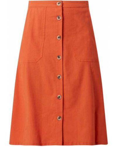 Pomarańczowa spódnica midi rozkloszowana bawełniana Vila