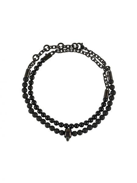 Czarna bransoletka srebrna Northskull