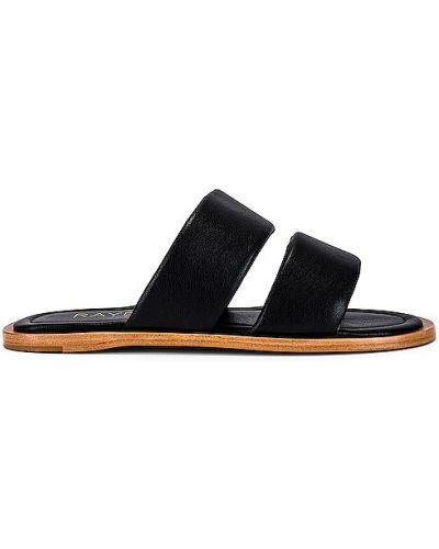 Czarne sandały na obcasie skorzane Raye