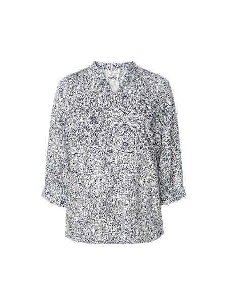 Niebieska bluzka z falbanami z wiskozy Junarose
