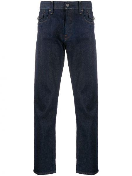 Хлопковые синие прямые джинсы с карманами с вышивкой G-star Raw