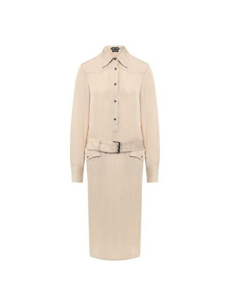 Платье с поясом шелковое с кокеткой Tom Ford